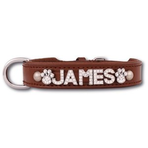 Doxtasy Dog collar with name Large Brown