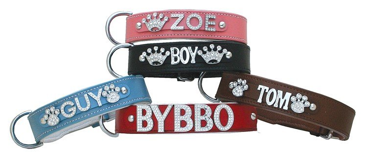 Hondenhalsband met naam Large Baby Blue