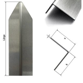 Versandmetall Corner protection angle modern 1-fold edged, for walls corners and edges 40x40x1mm length 1000 mm brushed Grain 320
