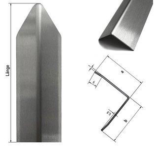 Versandmetall Corner protection angle modern 3-fold edged  for walls corners and edges 40x40x1mm length 1000 mm brushed grain320