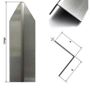 Versandmetall Corner protection angle modern 1-fold edged, for walls corners and edges 40x40x1mm length 1500 mm brushed grain320