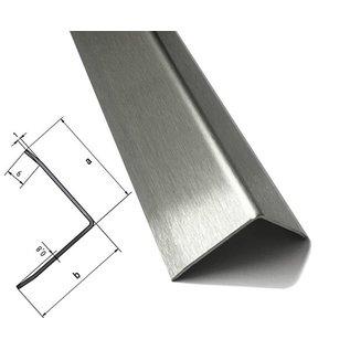Versandmetall Edelstahlwinkel Kantenschutzwinkel Eckschutzschiene 3-fach gekantet ungleichschenkelig 90° Länge 1000 mm