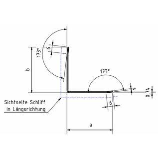 Versandmetall Edelstahlwinkel Kantenschutzwinkel Eckschutzschiene 3-fach gekantet ungleichschenkelig 90° Länge 1250 mm