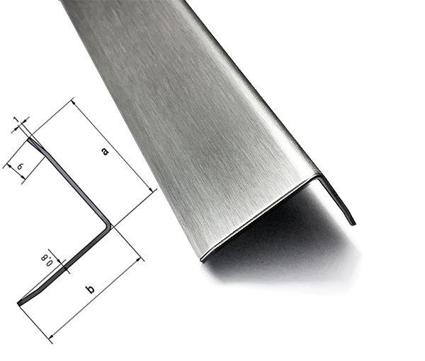 Kantenschutz Wand 1 Meter Edelstahl Winkel hochglanz poliert,0,8mm stark Winkelprofil Edelstahl 3-fach gekantet Kantenschutzprofil 3fach Winkelblech