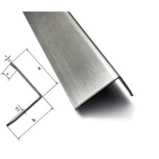 Versandmetall Stainless steel angle Edge protection angle Corner protection rail 3-fold edged unequal 90 ° length 2500 mm