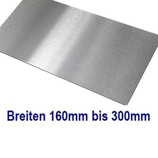 Versandmetall Edelstahl Blech Zuschnitte 1.4301 von 160 bis 300 mm Breite, Länge 1250 mm