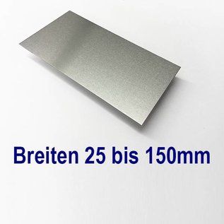 Versandmetall Aluminiumblech Zuschnitte 1.4301 von 25 bis 150mm Breite, Länge 1000 mm