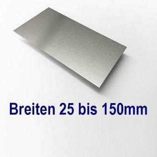 Versandmetall Aluminiumblech Zuschnitte 1.4301 von 25 bis 150mm Breite, Länge 1500 mm