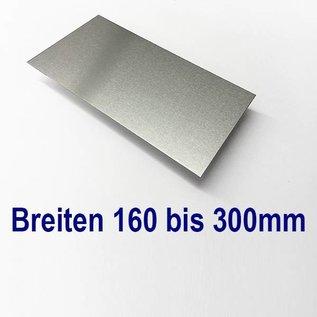 Versandmetall Aluminiumblech Zuschnitte 1.4301 von 160 bis 300mm Breite, Länge 1000 mm