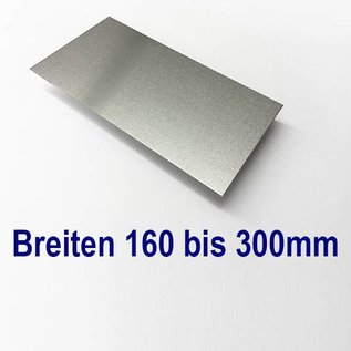 Versandmetall Aluminiumblech Zuschnitte 1.4301 von 160 bis 300mm Breite, Länge 2000 mm