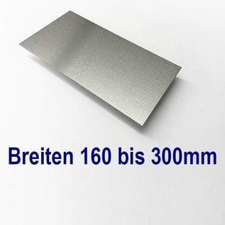 Versandmetall Aluminiumblech Zuschnitte 1.4301 von 160 bis 300mm Breite, Länge 2500 mm