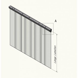 LSTi Cleanroom curtain, slatted curtain (aluminum anodised suspension) width 1250 mm, slats made of soft PVC slats 200/2, transparent, antistatic