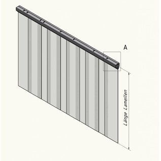 LSTi Cleanroom curtain, slatted curtain (aluminum anodised suspension) width 1500 mm, slats made of soft PVC slats 200/2, transparent, antistatic