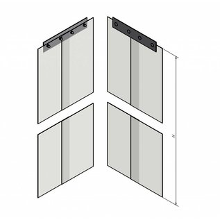 LSTi Cleanroom curtain, slatted curtain (aluminum anodised suspension) width 2500 mm, slats made of soft PVC slats 200/2, transparent, antistatic