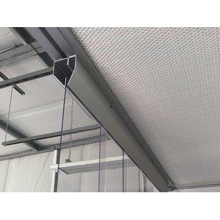 LSTi Reinraumvorhang, Lamellenvorhang ( Aufhängung  Alu eloxiert  ) Breite 1500 mm, Lamellen aus Weich-PVC-Lamellen 200/2, transparent, antistatisch