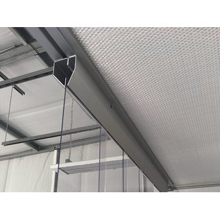 LSTi Cleanroom curtain, louvred curtain (aluminum anodized suspension) Width 1000mm, lamellae made of soft PVC lamellae 200/2, transparent, antistatic