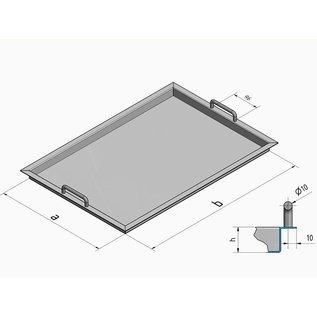 Versandmetall Edelstahlwanne R3  geschweißt Materialstärke 1,5mm  Länge/Tiefe (a)  400 mm Außen Schliff K320