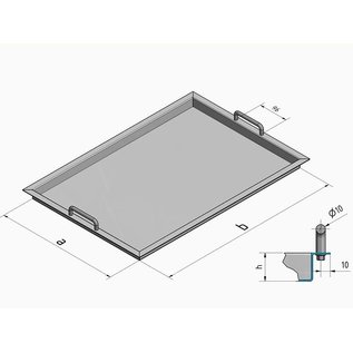 Versandmetall 180718-1 Stainless steel tray R3 with high handle handles 160x43mm (d10) corners welded 1,5mm h = 120mm axb 440x700mm outside grinding K320 (Inside can scratch due to production)