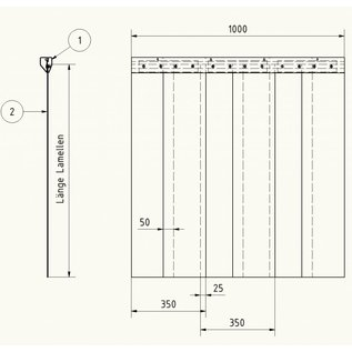 LSTi -Set (4-part) Suspension mounting rail anodised aluminum, widths each 1x 2020mm 1870mm 1460mm 960mm. Slats in pairs on aluminum sheet pre-assembled transparent soft PVC slats 200mm wide, 2 mm thick, for space division in the clean room, width