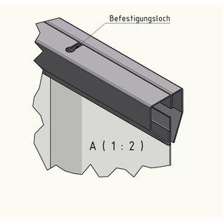 LSTi -Komplett-Set ( 4-teil ) Aufhängung Befestigungsschiene Aluminium eloxiert, Breiten je 1x  2020mm 1870mm 1460mm 960 mm. Lamellen paarweise auf Aluminiumblech  vormontierte transparente Weich-PVC-Lamellen 200mm breit, 2 mm dick, zur Raumteilung im Reinraum