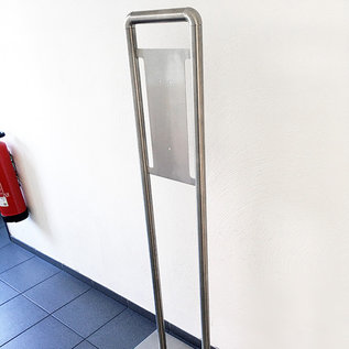 Versandmetall Mobile disinfection column made of high quality stainless steel. (without dispenser) Small space requirement, easy to transport. wall mounting is not necessary.