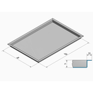 Versandmetall Stainless steel shower tray, shower tray {R3A} 1.5mm, INNER cut K320, depth 773 (800) mm, width 903 (930) mm, 2 drain holes height 60mm, 3-sided peripheral edge 15mm - Copy