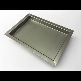 Versandmetall Edelstahl Duschwanne, Duschtasse { R3A } 1,5mm, INNEN  Schliff K320, Tiefe  280 ( 320) mm, Breite  420 (460 ) mm,  Höhe 40mm 4-seitig umlaufender Rand 20mm