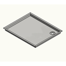 Versandmetall Stainless steel 316L (1.4404 or 1.4571) Shower tray, shower tray {R3A} 1.5mm, INSIDE cut K320, depth 800 mm (817mm outside), width 950 mm, (967mm outside) 1x drain hole, height 180mm 4-sided edge 10mm