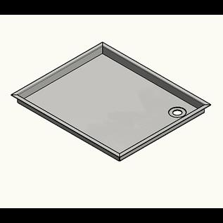 Versandmetall Edelstahl 316L ( 1.4404 o. 1.4571 ) Duschwanne, Duschtasse { R3A } 1,5mm, INNEN  Schliff K320, Tiefe 800 mm ( 817mm außen ) , Breite 950 mm,  (967mm außen ) 1x  Ablaufbohrung,  Höhe 180mm 4 seitiger Rand 10mm