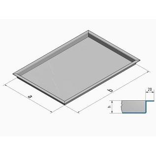 Versandmetall -Sonder Edelstahlwanne R3 Ecken geschweißt 1,5mm h=90mm axb 490 (527)mm x 290 (327)mm Außen Schliff K320