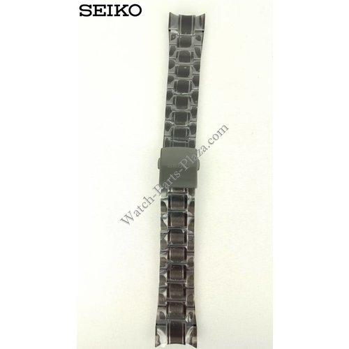 Seiko Seiko Sportura Horlogeband Zwart Staal 21mm 7T62-0KV0