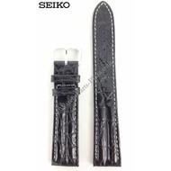 Seiko Seiko 7T32-7C60 zwart lederen horlogeband 19mm