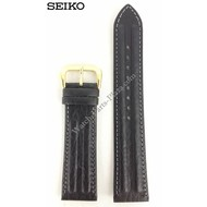 Seiko SEIKO BLACK LEATHER WATCH BAND 20mm 7T32-6B50 Strap SDW050J GOLD BUCKLE SDW169P1