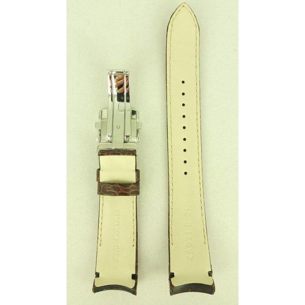 Seiko Horlogeband Seiko Premier Kinetic Perpetual Calendar SNP025 / SNP023 Bruin leren band 7D56-0AA0 21mm