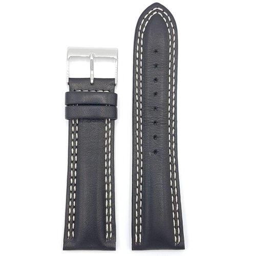 Guess Guess Newport W95046G3 Bande de montre en cuir noir Bracelet 24 mm