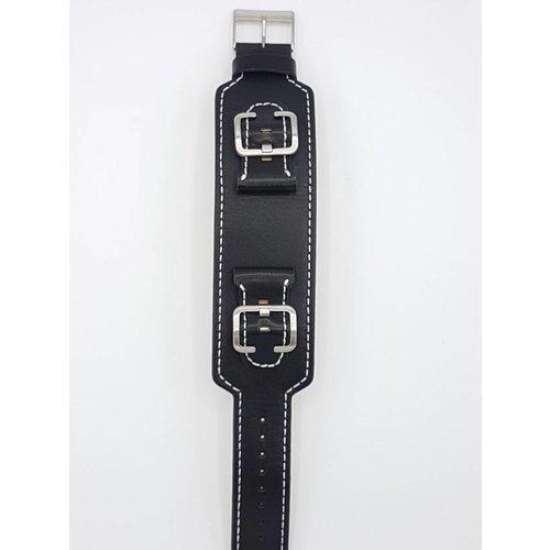 Guess Horloge band Guess Power Up W0186G1 zwart lederen band 24 mm