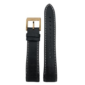 Seiko SNAE80P1 Watch Band 7T62-0KV0 21mm Black Strap Gold Buckle SSC274