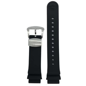 Seiko Watch Band Seiko Prospex Diver 6R15-04G0 / 8L35-00S0 Black Silicon Strap 20mm