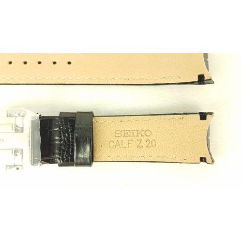 Seiko Correa de reloj Seiko Premier Kinetic SNP015P1 Correa de cuero negro 7D46-0AB0