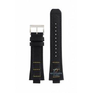 Seiko Seiko H024-00C0 Horlogeband zwart & geel stiksel SNJ023P2