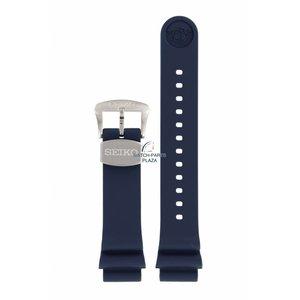 Seiko Horlogeband Seiko 6R15 04G0 Blauw rubber 20 mm
