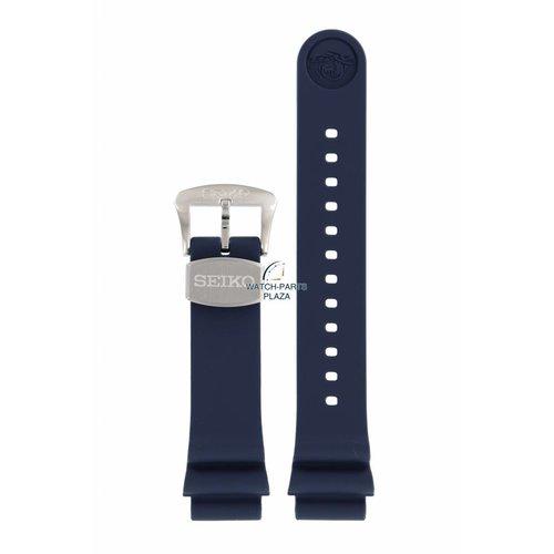 Seiko Bracelet de montre Seiko 6R15 04G0 Bracelet en caoutchouc bleu 20mm