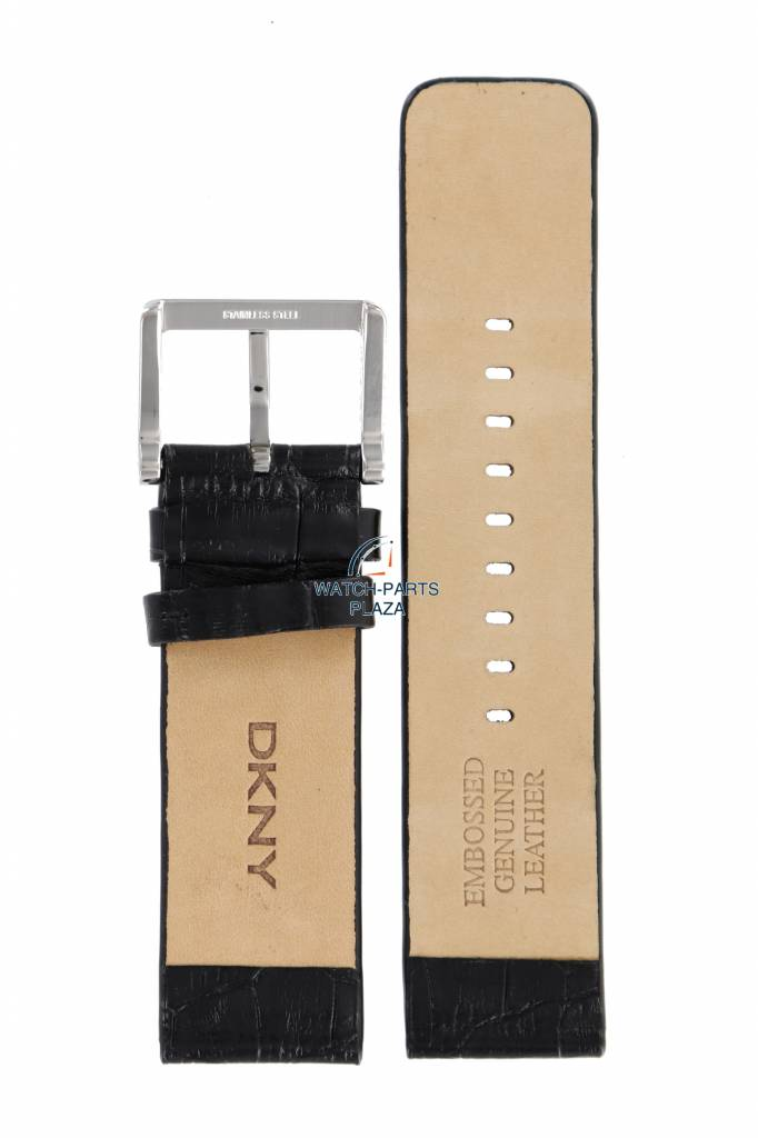 4354b9185 DKNY Watch Band DKNY NY3396 Embossed Genuine Leather Black Strap 24mm