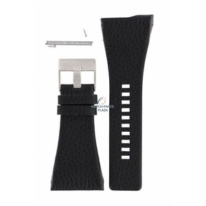 Diesel Bracelet de montre Diezel DZ-7101 en cuir noir 38 mm
