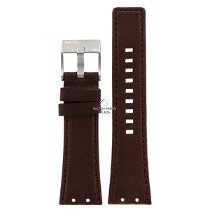 Diesel Bracelet de montre Diesel DZ-4110 en cuir marron 25 mm