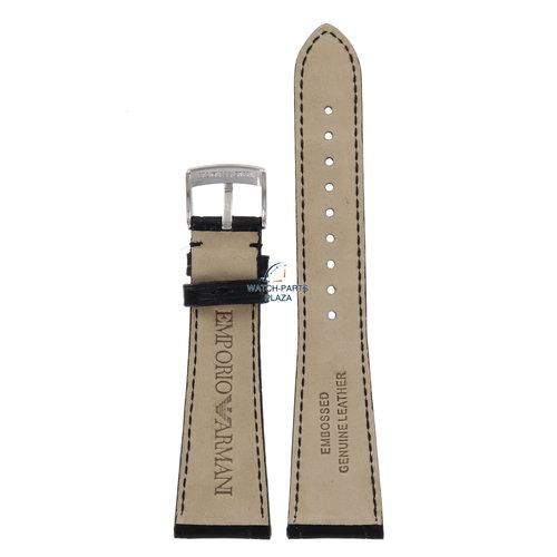 Armani Watch Band AR0284 / AR0292 Emporio Armani black leather strap 22mm original