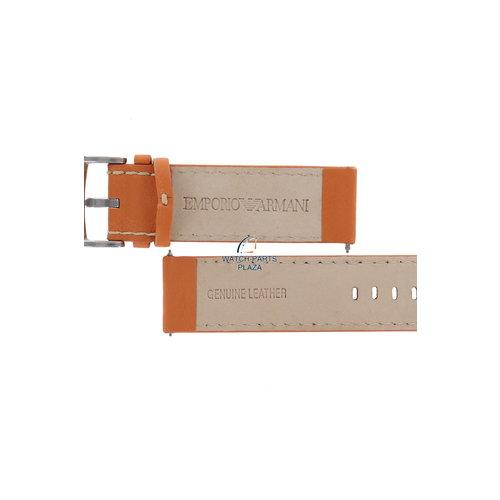 Armani Banda de reloj AR5814 Emporio Armani correa de cuero naranja de 23 mm original de la serie XL