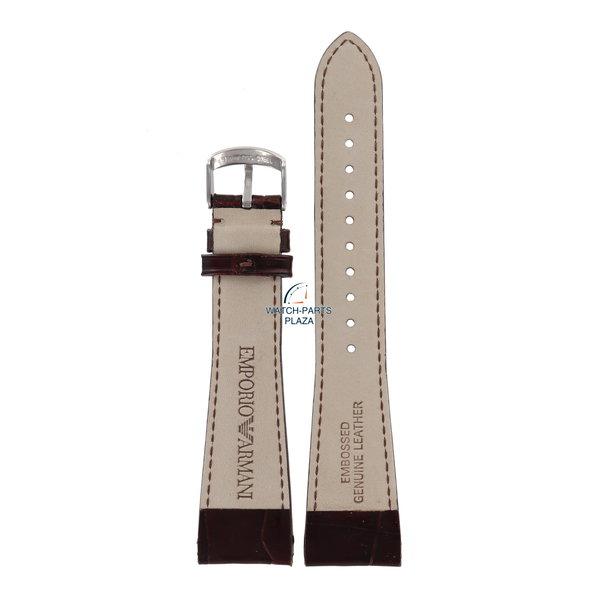 Armani Horlogeband AR0248 & AR0255 Emporio Armani bruin leren band 22 mm origineel & 4 pushpins