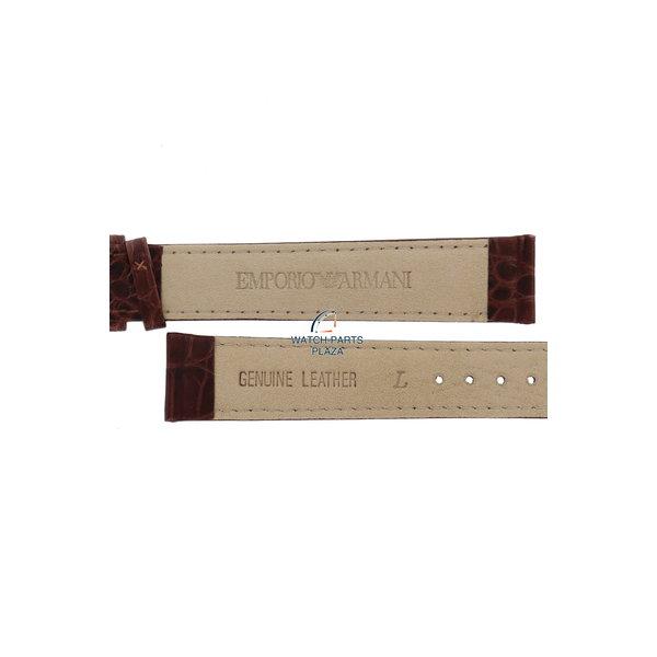 Armani Horlogeband AR0204 XL Emporio Armani bruin lederen band 18 mm