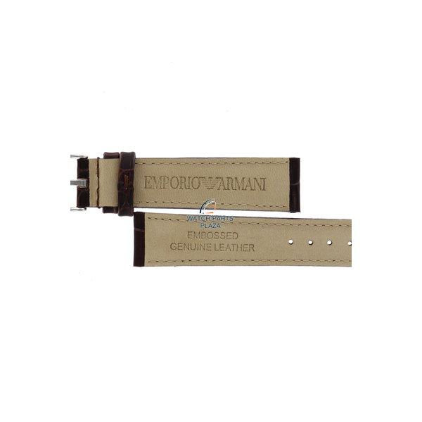Armani Horlogeband AR0205 Emporio Armani donkerbruin reliëf lederen band 14mm